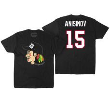 Chicago Blackhawks #15 Artem Anisimov Black Hockey Club Game On T-shirt