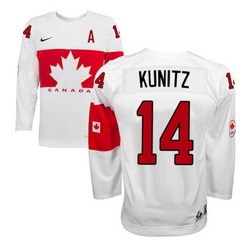 Canada Team Chris Kunitz #14 White Home Premier Olympic Jersey