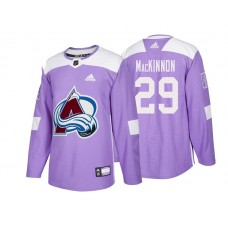 Colorado Avalanche #29 Nathan MacKinnon Purple 2018 Adidas Authentic Hockey Fights Cancer Jersey