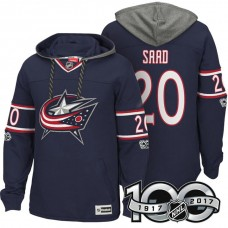 Columbus Blue Jackets #20 Brandon Saad Navy Anniversary Classic Patch Hoodie