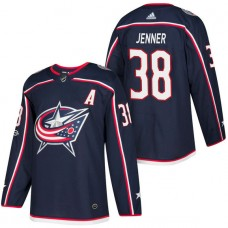 Columbus Blue Jackets #38 Boone Jenner Navy 2018 New Season Home Authentic Jersey With Anniversary Patch