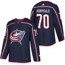 Columbus Blue Jackets #70 Joonas Korpisalo Navy 2018 New Season Home Authentic Jersey With Anniversary Patch