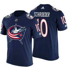 Columbus Blue Jackets #10 Jordan Schroeder Navy Adidas Player T-shirt