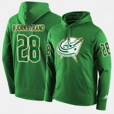 Columbus Blue Jackets #28 Oliver Bjorkstrand Green St. Patrick Day Pullover Hoodie