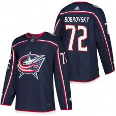 Columbus Blue Jackets #72 Sergei Bobrovsky Navy 2018 New Season Home Authentic Jersey With Anniversary Patch