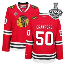 Women's Chicago Blackhawks Corey Crawford #50 Red 2015 Stanley Cup Home Jersey