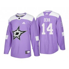 Dallas Stars #14 Jamie Benn Purple 2018 Adidas Authentic Hockey Fights Cancer Jersey