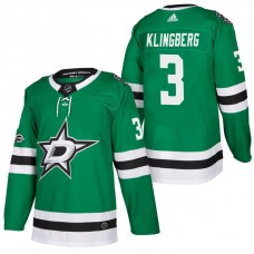 Dallas Stars #3 John Klingberg Green 2018 New Season Home Authentic Jersey With Anniversary Patch