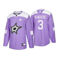 9a22aef70 Dallas Stars  3 John Klingberg Purple 2018 Adidas Authentic Hockey Fights  Cancer Jersey