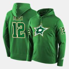 Dallas Stars #12 Radek Faksa Green St. Patrick Day Pullover Hoodie