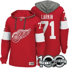 Detroit Red Wings #71 Dylan Larkin Red 2017 Anniversary Patch Hoodie