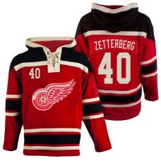 Detroit Red Wings #40 Henrik Zetterberg Red Throwback Pullover Hoodie