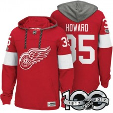Detroit Red Wings #35 Jimmy Howard Red 2017 Anniversary Patch Hoodie