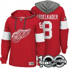 Detroit Red Wings #8 Justin Abdelkader Red 2017 Anniversary Patch Hoodie