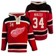 Detroit Red Wings #34 Petr Mrazek Red Throwback Pullover Hoodie