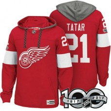 Detroit Red Wings #21 Tomas Tatar Red 2017 Anniversary Patch Hoodie