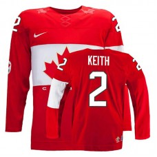 Youth Canada Team Duncan Keith #2 Red Away Premier Olympic Jersey