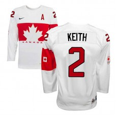 Youth Canada Team Duncan Keith #2 White Home Premier Olympic Jersey