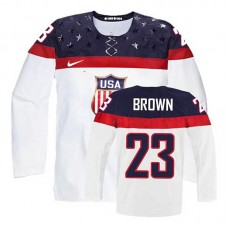 Women's USA Team Dustin Brown #23 White Home Premier Olympic Jersey