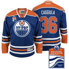 Edmonton Oilers #36 Drake Caggiula Navy Inaugural Season Patch Home Jersey