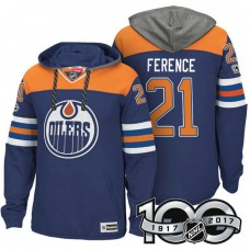Edmonton Oilers #21 Andrew Ference Royal 2017 Anniversary Patch Hoodie