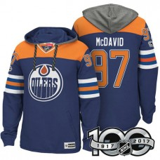 Edmonton Oilers #97 Connor McDavid Royal 2017 Anniversary Patch Hoodie