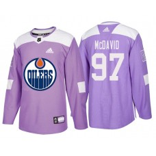 Edmonton Oilers #97 Connor McDavid Purple Hockey Fights Cancer Authentic Jersey