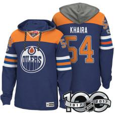 Edmonton Oilers #54 Jujhar Khaira Royal 2017 Anniversary Patch Hoodie