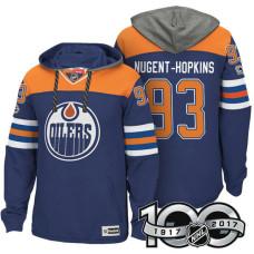 Edmonton Oilers #93 Ryan Nugent-Hopkins Royal 2017 Anniversary Patch Hoodie