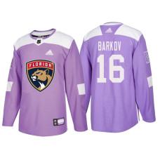 Florida Panthers #16 Aleksander Barkov Purple Hockey Fights Cancer Authentic Jersey