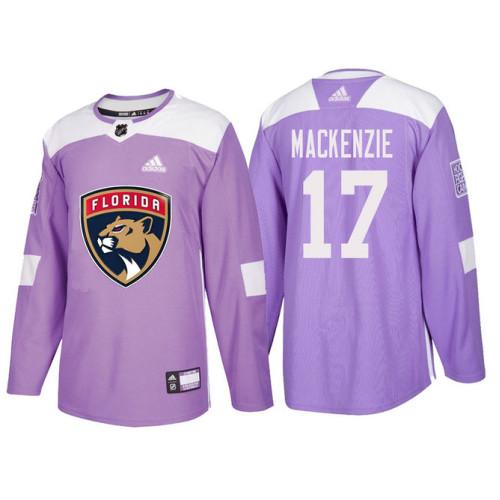 Florida Panthers  17 Derek MacKenzie Purple Hockey Fights Cancer Authentic  Jersey 0f359fb43
