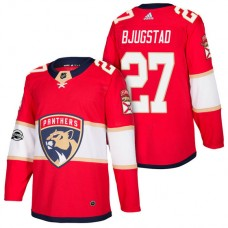 Florida Panthers #27 Nick Bjugstad Red 2018 New Season Home Authentic Jersey With Anniversary Patch