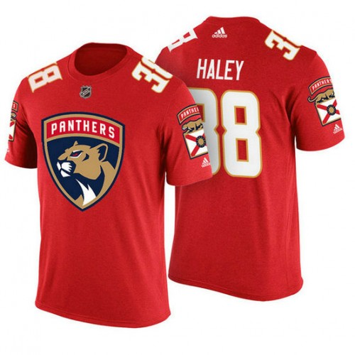 Florida Panthers #38 Micheal Haley Red Adidas Player T-shirt