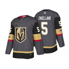 Vegas Golden Knights #5 Deryk Engelland Steel Gray 2018 Authentic Player Home Jersey