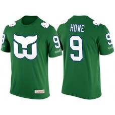 Hartford Whalers Green Gordie Howe #9 New Season Throwback Player T-shirt Mitchell & Ness