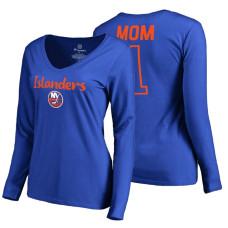 New York Islanders 2018 Fanatics Mother's Day Number 1 Mom long sleeve T-Shirt Royal