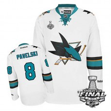 San Jose Sharks Joe Pavelski #8 White 2016 Stanley Cup Away Finals Jersey