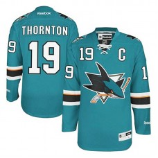 Youth San Jose Sharks Joe Thornton #19 Teal Green Home Jersey