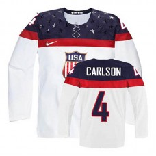 USA Team John Carlson #4 White Home Premier Olympic Jersey