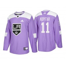 Los Angeles Kings #11 Anze Kopitar Purple 2018 Adidas Authentic Hockey Fights Cancer Jersey