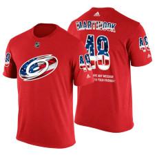 Carolina Hurricanes Jordan Martinook  48 Red Banner Wave USA Flag  patriotism T-Shirt f46bb0191