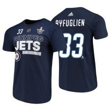 Winnipeg Jets #33 Dustin Byfuglien Navy 2018 Stanley Cup Playoffs Participant Adidas T-Shirt
