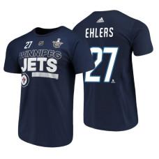 Winnipeg Jets #27 Nikolaj Ehlers Navy 2018 Stanley Cup Playoffs Participant Adidas T-Shirt