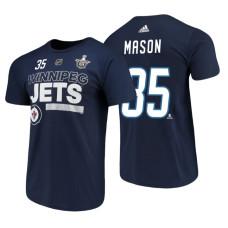 Winnipeg Jets #35 Steve Mason Navy 2018 Stanley Cup Playoffs Participant Adidas T-Shirt