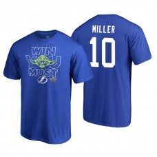 Tampa Bay Lightning #10 J.T. Miller Royal 2018 Stanley Cup Playoffs Star Wars Win You Must Adidas T-shirt
