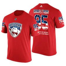 Florida Panthers Henrik Borgstrom #95 Red Banner Wave USA Flag patriotism T-Shirt