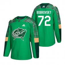 Columbus Blue Jackets #72 Sergei Bobrovsky 2018 St. Patrick's Day Jersey Green