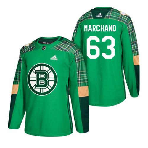 baf1a87e7 Boston Bruins  63 Brad Marchand 2018 St. Patrick s Day Jersey Green