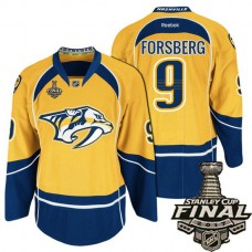 Nashville Predators Gold Filip Forsberg #9 Premier Home Jersey With 2017 Stanley Cup Final Patch