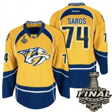 Nashville Predators Gold Juuse Saros #74 Premier Home Jersey With 2017 Stanley Cup Final Patch